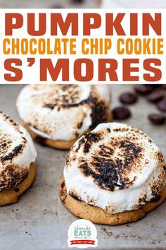 Pumpkin Chocolate Chip Cookie S'mores combine two of our family's fall favorites – pumpkin cookies and roasted marshmallows for a tasty Halloween treat! You might normally think of S'mores and roasting marshmallows as a summer activity, but a few years ago our street became pretty active with having block parties and impromptu S'more roasting get togethers during the fall!   Good Life Eats @goodlifeeats #pumpkincookies #fallcookies #smorescookies #christmascookies # Fall Cookies, Smores Cookies, Christmas Cookies, Pumpkin Chocolate Chip Cookies, Dark Chocolate Chips, Baking Recipes, Cookie Recipes, Dessert Recipes, Roasting Marshmallows