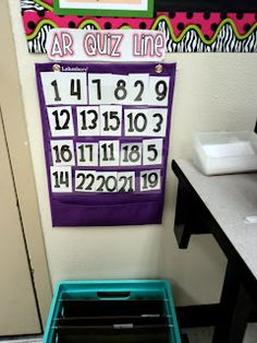 students put their number in the pocket chart when they are waiting to do something, and they go in order. Perfect solution for classrooms with only 1-2 computers (or 1-2 of anything)