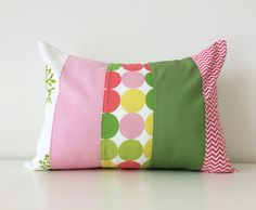 Spring Pillow Cover, Girls Nursery, Room, Mixed Pattern Block, 12x16 Inches, Modern Kids Decor, Patchwork, Chevron, Pink, Green, White