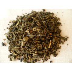 Thé vert parfumé de menthe poivrée et d'agrumes.  Avec une pointe de gingembre, ginseng et aloe vera.  Thé frais, riche et légèrement épicé.  Thé cultivé sans engrais, ni pesticides.