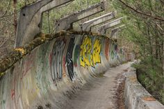 Before it was covered in awesome street art, this was the bobsled run used in the 1984 winter olympics, in Sarajevo, Bosnia.