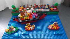 LEGO Duplo stoomboot sint pieten kadootjes en de kade met kindjes I love duplo! DUPLO STOOMBOOT