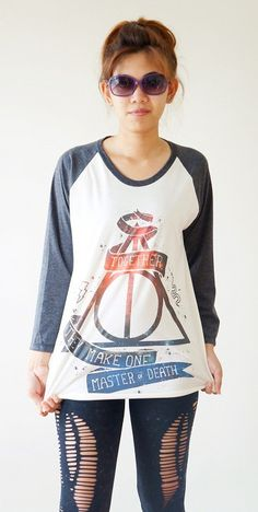 S,M,L -- Galaxy Deathly Hallows Shirt Harry Potter Shirt Baseball Tee Jersey Raglan Tee Long Sleeve Shirts Unisex Shirts Women Shirts on Etsy, $18.00