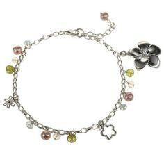 EXP Handmade Sterling Silver Flower Charm, Pearl & Sterling Silver Bracelet EXP. $36.00