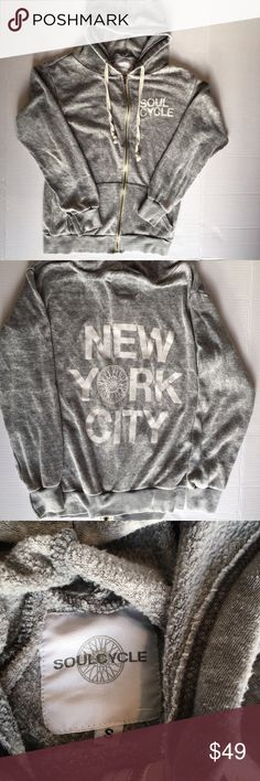 SoulCycle NYC zip up hoodie sweatshirt Small Great lightweight zip up SoulCycle zip up hoodie. Great condition except for thread loose by wrists. soulcycle Tops Sweatshirts & Hoodies