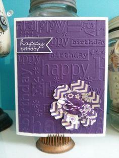 57 Ideas Birthday Wishes Happy Embossing Folder Birthday Wishes Cards, Birthday Cards For Women, Bday Cards, Handmade Birthday Cards, Greeting Cards Handmade, Tarjetas Diy, Purple Cards, Karten Diy, Birthday Background