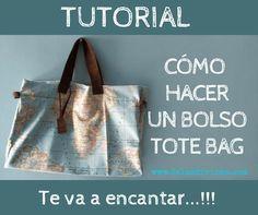 Hola a todos. Hoy en Telas Divinas vamos a aprender a hacer un bolso tote... Pochette Diy, Craft Bags, Denim Bag, Fabric Bags, Diy Clothes, Travel Bags, Purses And Bags, Sewing Patterns, Tote Bag