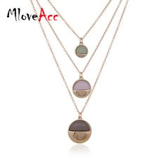 MloveAcc Brand New Style Marbled Stone Disc Layered Necklace for Women 3 Layers Choker Necklace Pendant