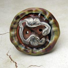 Handmade Lampwork Glass Button Brown Raku by StoneDesignsbySheila, $12.00