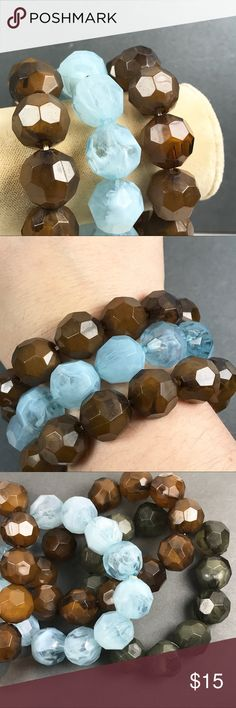 Brown and blue stretch bracelets Fun stretch bracelets Wear alone or together Layer with other bracelets Baby blue and brown color Acrylic/plastic beads From smoke and pet free location  Box2 Jewelry Bracelets