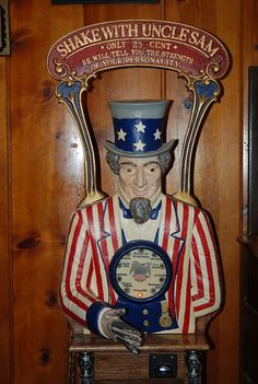 """""""Shake with Uncle Sam *Only 25 Cent* He Will Tell You the Strength of Your Personality"""" found in a saloon in Virginia City, NV I Love America, God Bless America, 4th Of July Celebration, Fourth Of July, Juke Box, Be My Hero, Patriotic Decorations, Patriotic Crafts, Thing 1"""