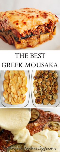 Real Greek Recipes – Simple Cooking For A Healthy Living Moussaka is a layered one of a kind baked dish full of flavor. Saucy, creamy with deep-fried potatoes and eggplants. Pasta Sin Gluten, Musaka, Good Food, Yummy Food, Greek Cooking, Greek Dishes, Fried Potatoes, Mediterranean Recipes, Greek Recipes
