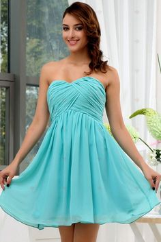 A-line Strapless Sweetheart-neck Empire Mini Length Chiffon Homecoming Gowns Strapless Dress Formal, Formal Dresses, Homecoming, Blue Dresses, Chiffon, Gowns, Empire, How To Wear, Clothes