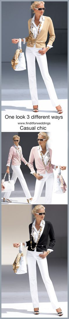 Take a basic look and turn it into 3 different chic looks. For more fashion ideas visit www.finditforweddings.com casual chic summer fashion holiday fashion