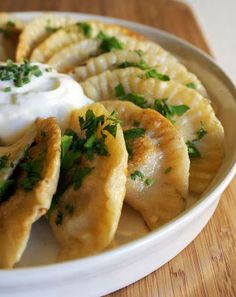 Perogi-similar to ravioli, but the filling typically involves a mashed potato base plus the fixings!