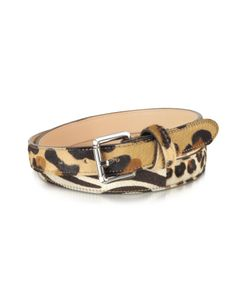 Animal Print Haircalf Leather Belt by Forzieri is crafted in printed haircalf and leather featuring silver tone buckle hardware and crisscross loop.