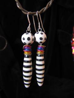 Earrings Handmade, Handmade Jewelry, Polymer Beads, Ceramic Beads, Bead Earrings, Color Splash, Larger, Wicked, Jewelry Making