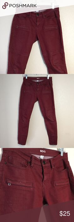 {UO} BDG Dark Red Moto Zipper Skinny Jeans Used in like new condition. No Trades / No PayPal /  Smoke-Free Home / Ask Questions! / No Model Requests Please / Like what you see but dont like the price? MAKE ME AN OFFER! Urban Outfitters Jeans Skinny