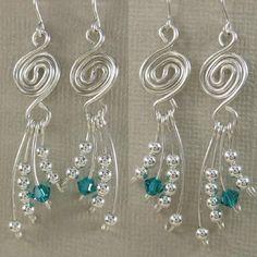 Wire Wrapped Earrings, Wire Earrings, Wire Jewelry, Jewelry Crafts, Beaded Jewelry, Jewelery, Jewelry Ideas, Handmade Jewellery, Crystal Jewelry