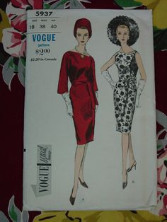 Vintage Pattern 1960's Vogue Special Design No.5937 Dress, Size 18 Uncut on Etsy, $14.00