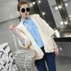 2015 spring women solid color pocket sleeve loose knit cardigan USD$15.68