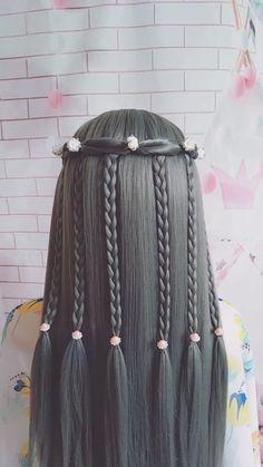 Easy Hairstyles For Long Hair, Braids For Long Hair, Braided Hairstyles, Front Hair Styles, Medium Hair Styles, Hair Style Vedio, Long Hair Video, Hair Videos, Hair Hacks