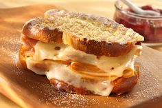 Baby Swiss Monte Cristo Panini with Black Pepper Strawberry Jam - Super yummy! Made jam the easy way though. Straw. preserves with pepper and balsamic to taste...heated over a small double boiler. The family LOVED these quick little sandwiches.