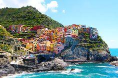 """Manarola, Cinque Terre, Italy - The Cinque Terre, are five small villages on the """"Costa Ligure of Levante""""."""