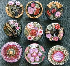 Collection of 9 Czech Antique 1920's Glass Buttons A864 RARE | eBay
