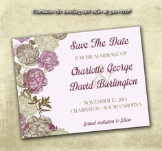 DIY Printable Wedding Save The Date PDF - Vintage Brown Floral Design in Plum Purple (Or Choice in Color!) on Etsy