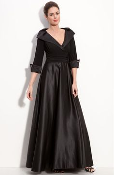 Mother of the Bride - Eliza J Jersey Satin Portrait Collar Gown Mother Of Groom Dresses, Mothers Dresses, Mother Of The Bride, Mob Dresses, Bridesmaid Dresses, Wedding Dresses, Bride Dresses, Plus Size Gowns, Collar Dress