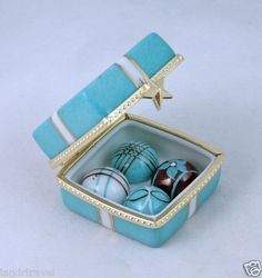 NEW FRENCH LIMOGES BOX YUMMY CHOCOLATE TRUFFLES CANDY IN TIFFANY'S GIFT BOX