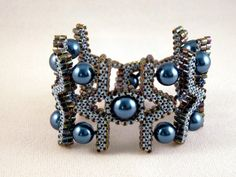 Blue Bead Quilled Cuff
