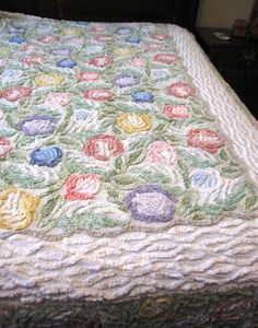 Vintage Chenille Bed Cover Coverlet Spread with Beautiful Flower Pattern | eBay