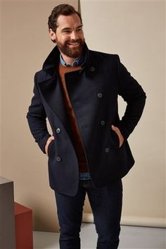 Navy Wool Rich Double Breasted Jacket