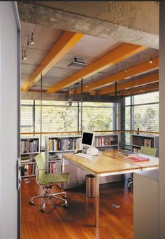 Home Designs , House Ceiling Exposed Beams : Home Office Painted Exposed Beams