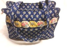Vera Bradley Maison Blue Diaper Bag Purse Shoulder Bag Wallet Changing Pad