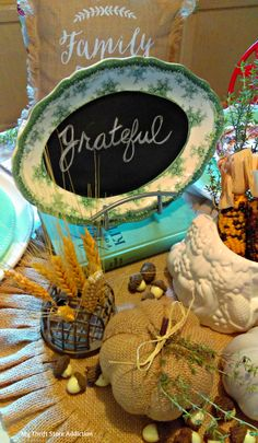 Repurpose a vintage platter as a chalkboard for an inspirational fall tablescape!