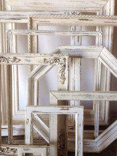 Neat collection of whitewashed frames.