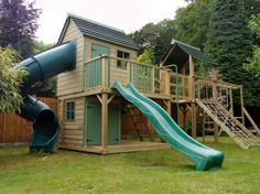 Bespoke Wooden Garden Playhouses and Climbing Frames for children - Design Create Play - Forest Mega Combo Turbo Playhouse climbing frame - Playhouse With Slide, Backyard Playhouse, Build A Playhouse, Backyard Playground, Backyard For Kids, Toddler Playground, Kids Climbing Frame, Outdoor Play Areas, Outdoor Play Structures