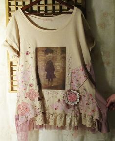 Remember to dream... Plus size 3xl/4xl romantic upcycled t-shirt tunic. €119.00, via Etsy.