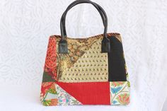 #Handmade handbags #vintage bag # Fabric handmade bags #Tote bag #large totes beach bag #Cotton tote bags #beach tote #travel bag #patchwork bag