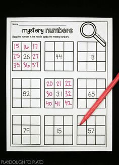 Fill in the mystery numbers! Fun place value activities for kids! lots of no prep math centers for kindergarten or first grade.