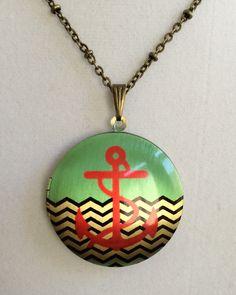Anchor Locket Necklace by joytoyou41 on Etsy, $27.00
