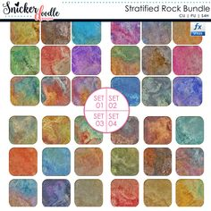 The Stratified Rock Photoshop Styles A Bundle includes (36) seamless styles in vibrant colors and color variations.  Each one brings to mind stratified rock formations and the beauty of nature.  Use these to customize your digital scrapbooking projects or print and cut to create beautiful hybrid craft projects. Product Description: 4 .asl files, Metadata for PSE users, PSD Style Strip, Commercial and Personal Use friendly.