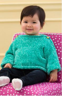 The Simple and Soft Baby Pullover is made with a soft and luxurious bulky chenille yarn. This cozy yarn is just right for baby's delicate skin. This easy knit sweater is the perfect quick knit for the next baby to enter your world. Plus, the turquoise color of this knitted sweater is perfect for both little boys and little girls. The finishing touch are the two adorable buttons on both sides of the neck opening. Your baby will look so adorable in this fun and functional free knitting patt...