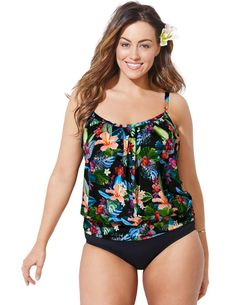 73028b1ee8 Fashion Bug Women s Plus Size Tropical Print Blouson Tankini Set 22 Multi  www.fashionbug.