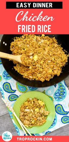 This easy Chicken Fried Rice recipe is fulfilling and flavorful. Perfect for a quick dinner when you're short on time. Using left over rice and chicken breasts, all you need to do is scramble the eggs, mix all ingredients together in a skillet and stir fry for 5 minutes! Easy Chicken Dinner, Easy Dinner Recipes, Homemade Chicken Fried Rice recipe.