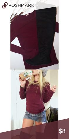 Basic long sleeve J.Crew basic long sleeve. Soft cotton top. Stretchy and cozy! Deep burgundy red color. J. Crew Tops Tees - Long Sleeve