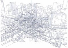 X-Ray Vision: Tomoyuki Tanaka Opens Up Tokyo's Train Stations With Intricate Ballpoint Drawings - Architizer U Bahn Station, Tokyo Station, Section Drawing Architecture, Architecture Sketches, Plan Drawing, Metro Station, Japan, Urban Planning, Illustrations